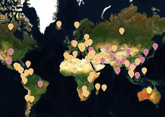 Weltkarte Kleidung Herstellung